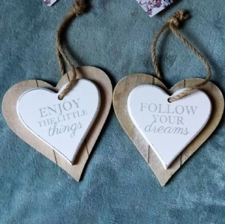50% OFF Set Of 2 Double Wood Slogan Hanging Hearts